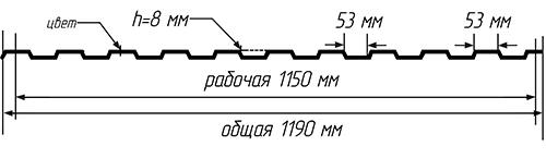 Технические характеристики профлиста C-8: